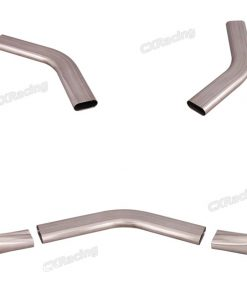 """Cxracing 3"""" Oval 45 Degree 304 Stainless Steel Pipe + Round Coverter"""