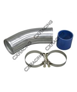 "Cxracing 3.5"" O.D. Aluminum 45 Degree Joiner Pipe 10"" Long + Hose + T-Clamps"
