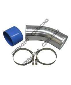 "Cxracing 4"" O.D. Aluminum 45 Degree Joiner Pipe 10"" Long + Hose + T-Clamps"