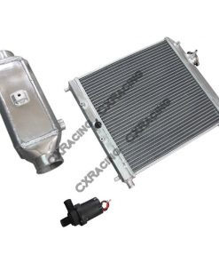 Cxracing Aluminum 2 Rows Heat Exchanger Barrel Style Liquid Water to Air Intercooler And Water Pump