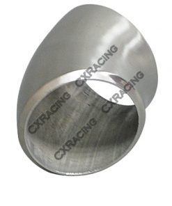 """Cxracing 2.25"""" O.D. Extruded 304 Stainless Steel Elbow 45 Degree Pipe , 3mm (11 Gauge) Thick"""