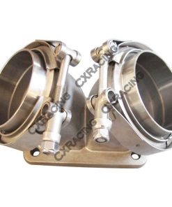 "Cxracing 3"" Vband Inlet To T6 Dual Turbo Elbow Twin Scroll Divided Adapter Flange"