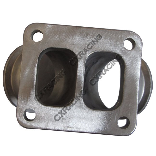 """Cxracing 2.5"""" Vband to T4 Dual Inlet Turbo Elbow Twin Scroll Divided Adapter Flange"""