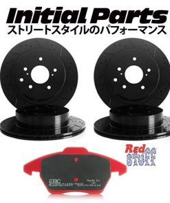 NISSAN 200SX S14, S14A, S15 REAR GROOVED BRAKE DISCS & EBC RED STUFF PADS